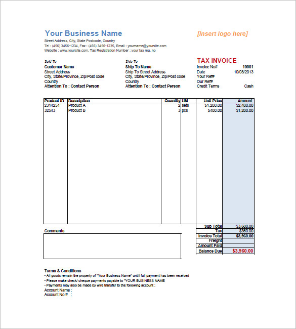 sales invoice template example in pdf