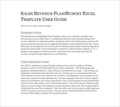 sales revenue plan example1