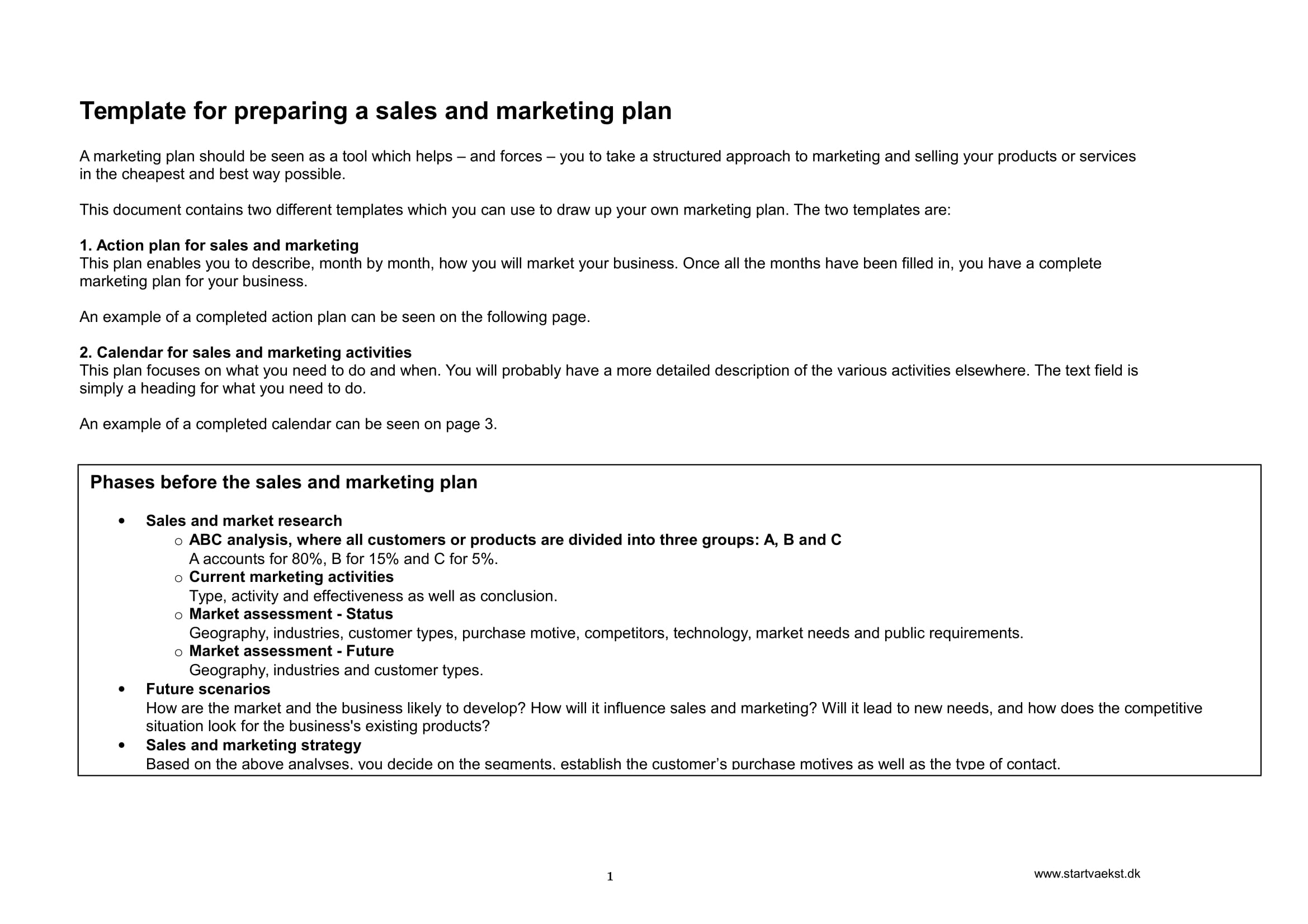 sales and marketing action plan example 1