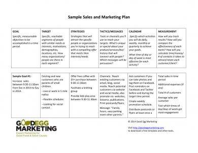 sales and marketing plan with target strategies and tactics specification example