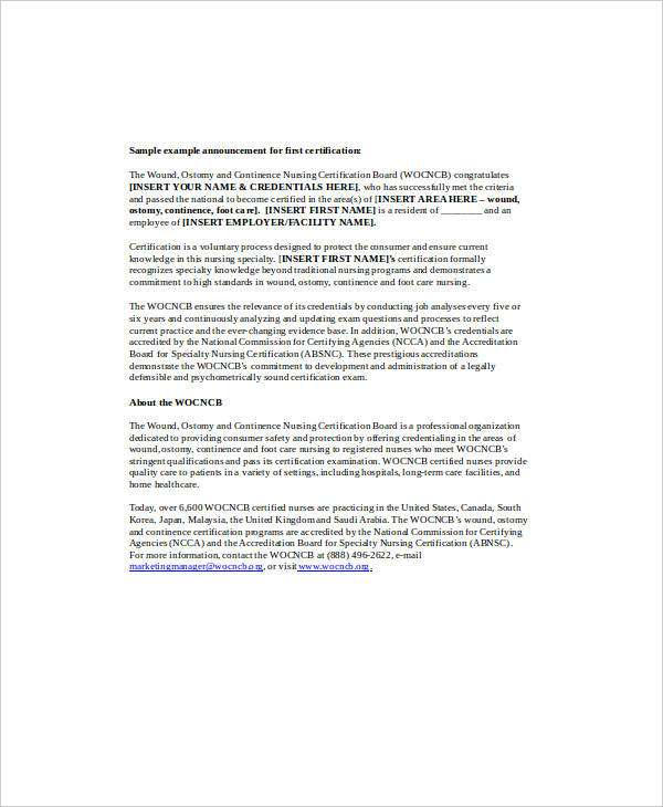 sample announcement for first certification