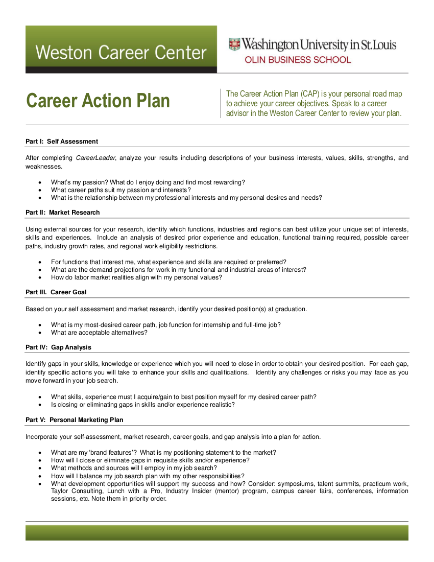sample career action plan example