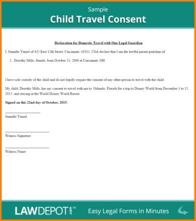 sample child travel consent1
