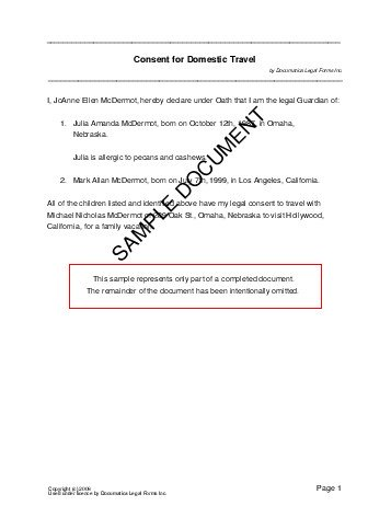 sample consent for domestic travel letter