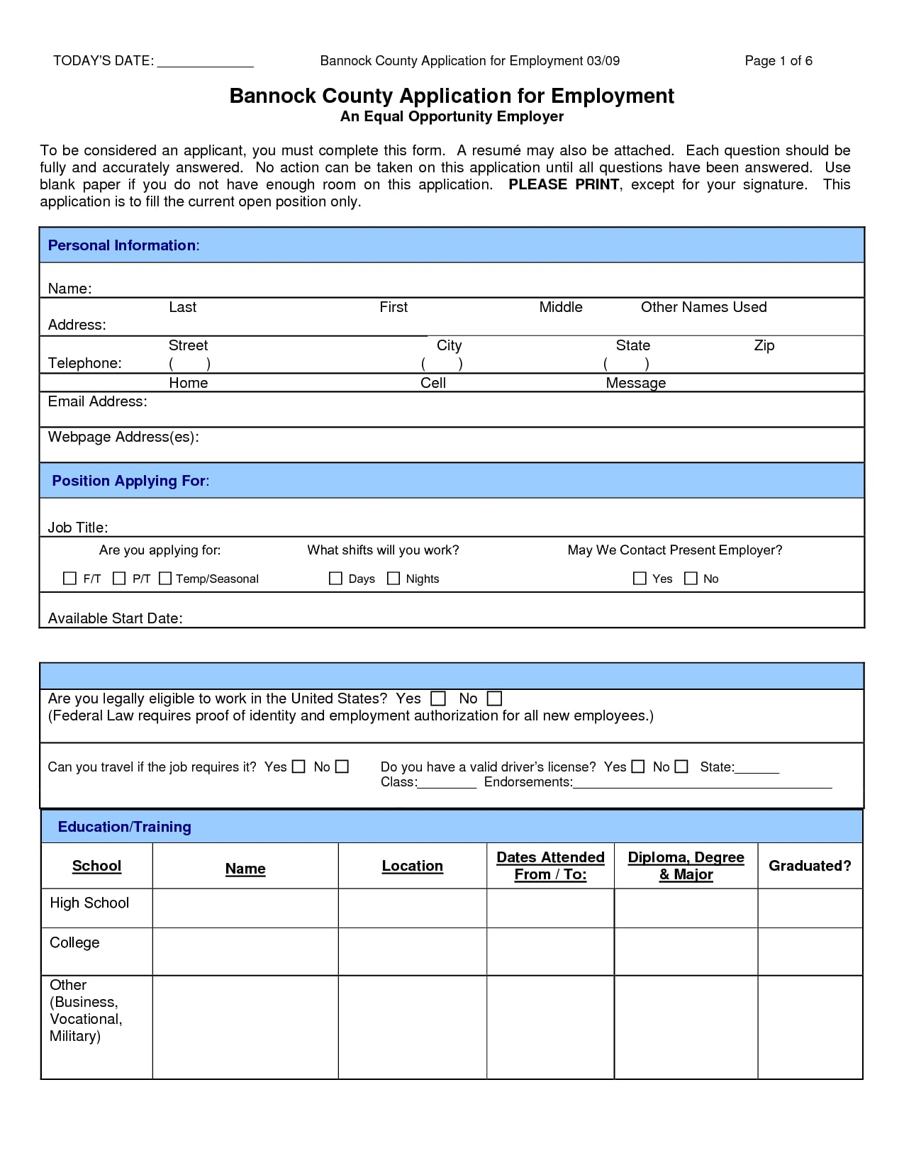 sample county application review form example