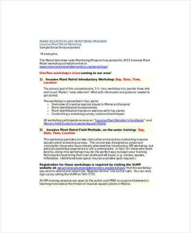sample email announcement format1