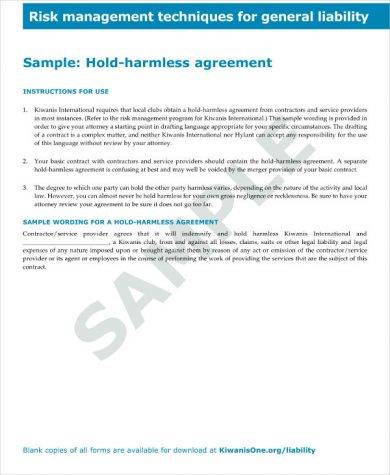 sample hold harmless agreement