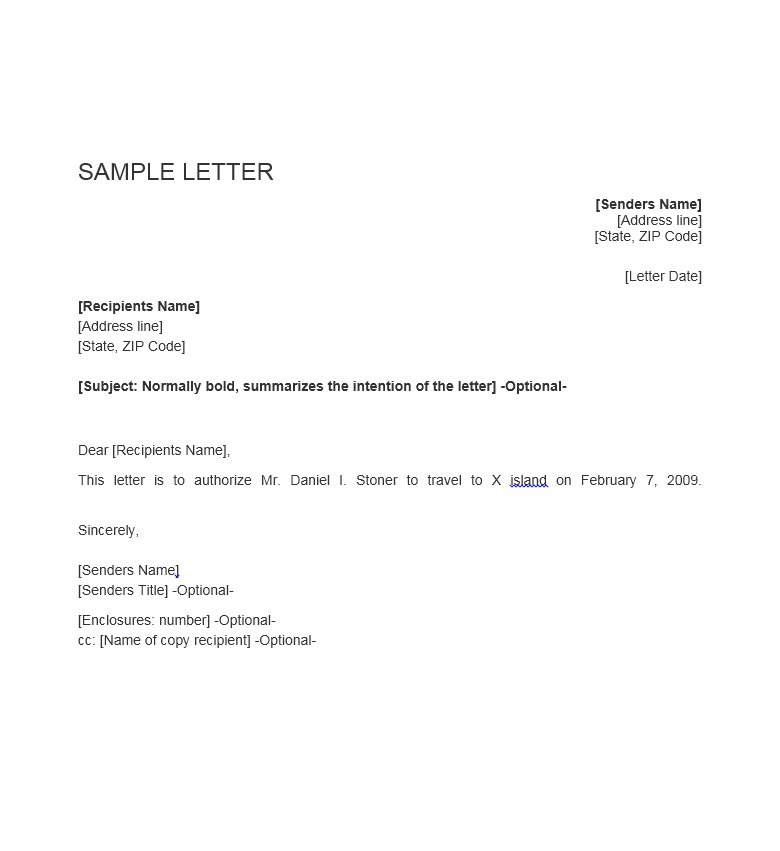 sample letter to travel to x island