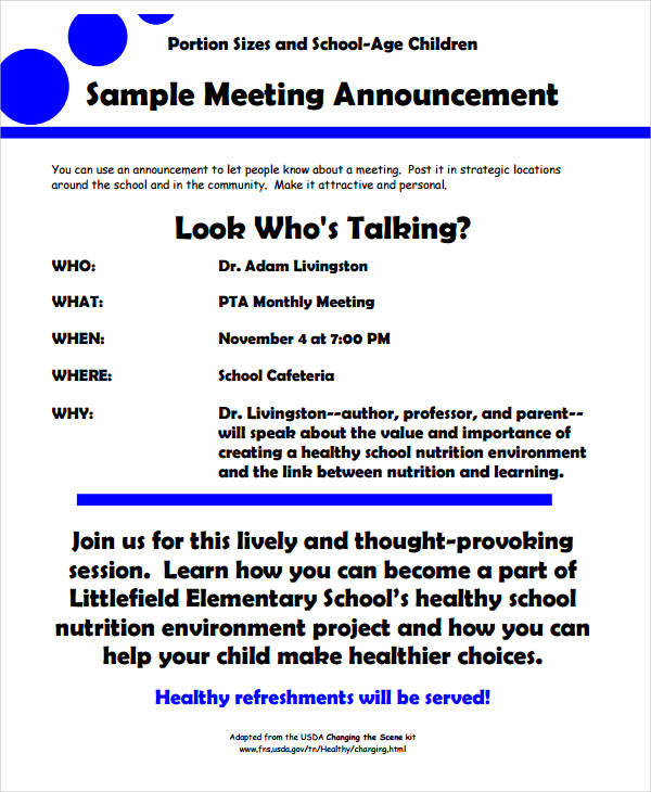 10 meeting announcement examples pdf