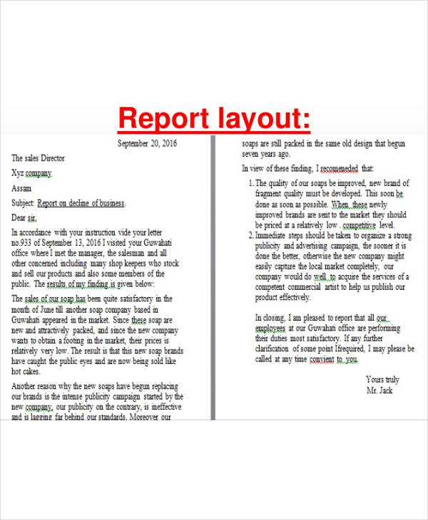 sample report layout1