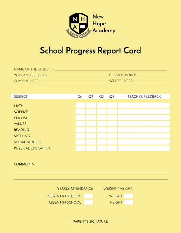 school progress report card example