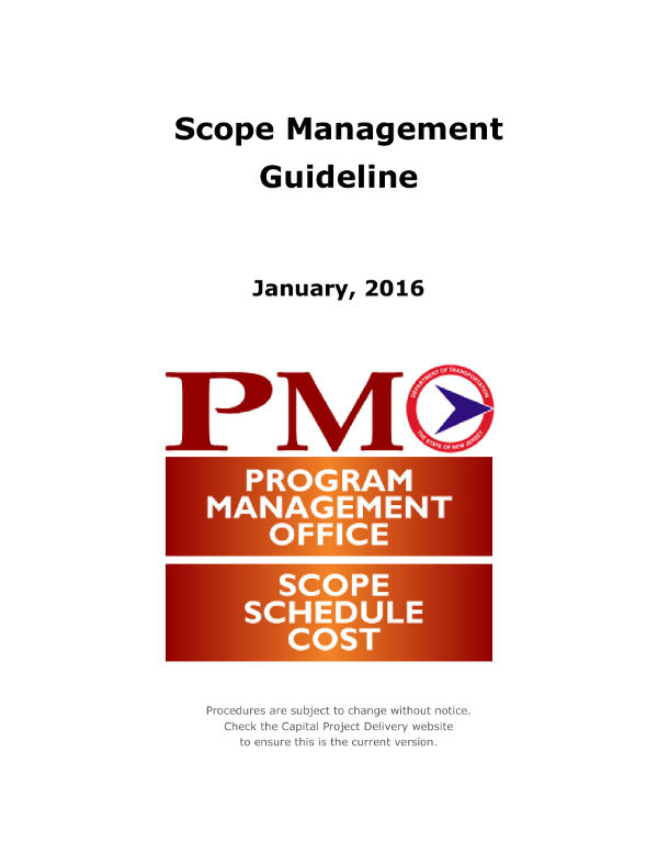 scope management guideline and plan example
