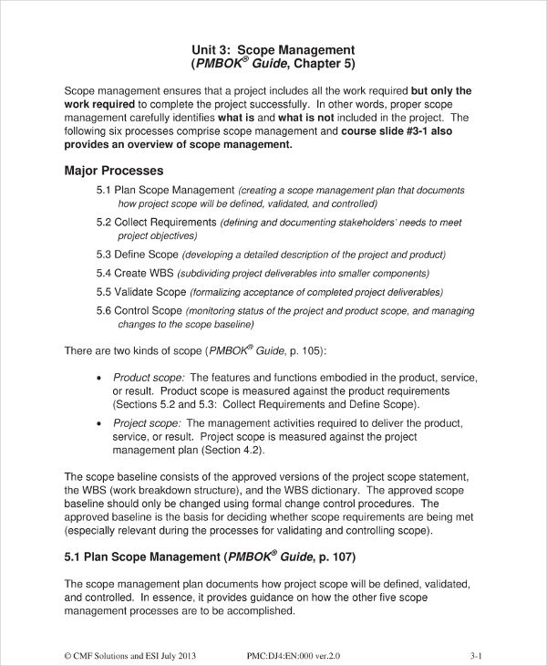 scope management plan for a project example