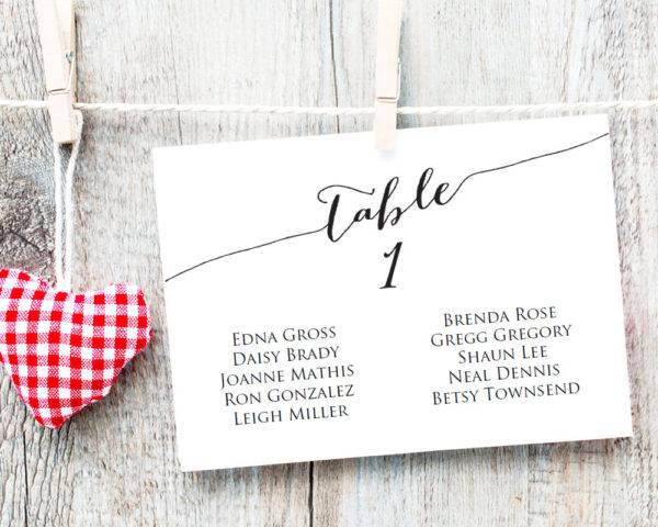 seat plan wedding table card example1