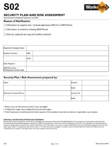 security plan and risk assessment example