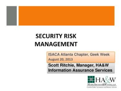 security risk assessment and management guide example