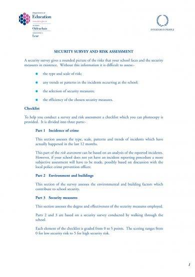 security survey and risk assessment example