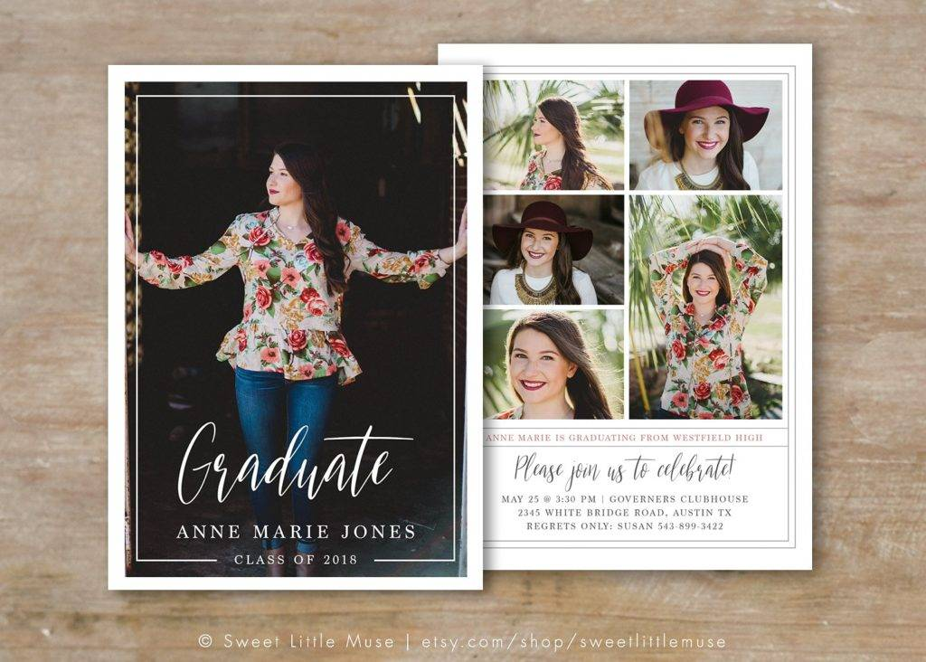 senior graduation announcement photocard example  1024x732