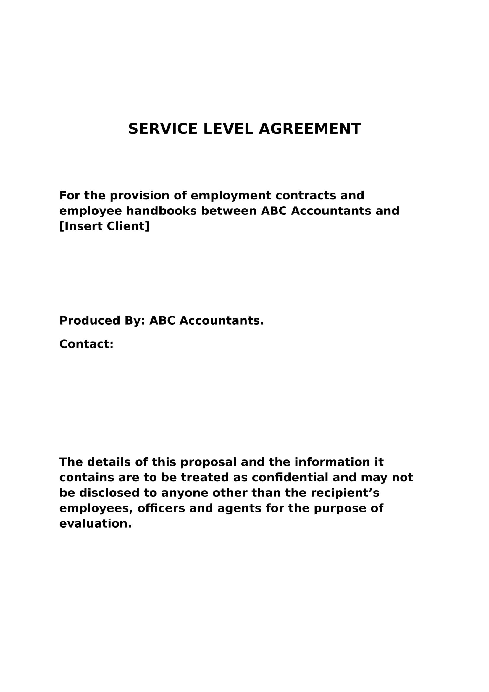 service level agreement example