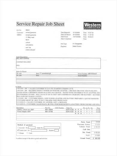 service repair job sheet