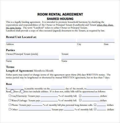 shared housing rental letter agreement example1