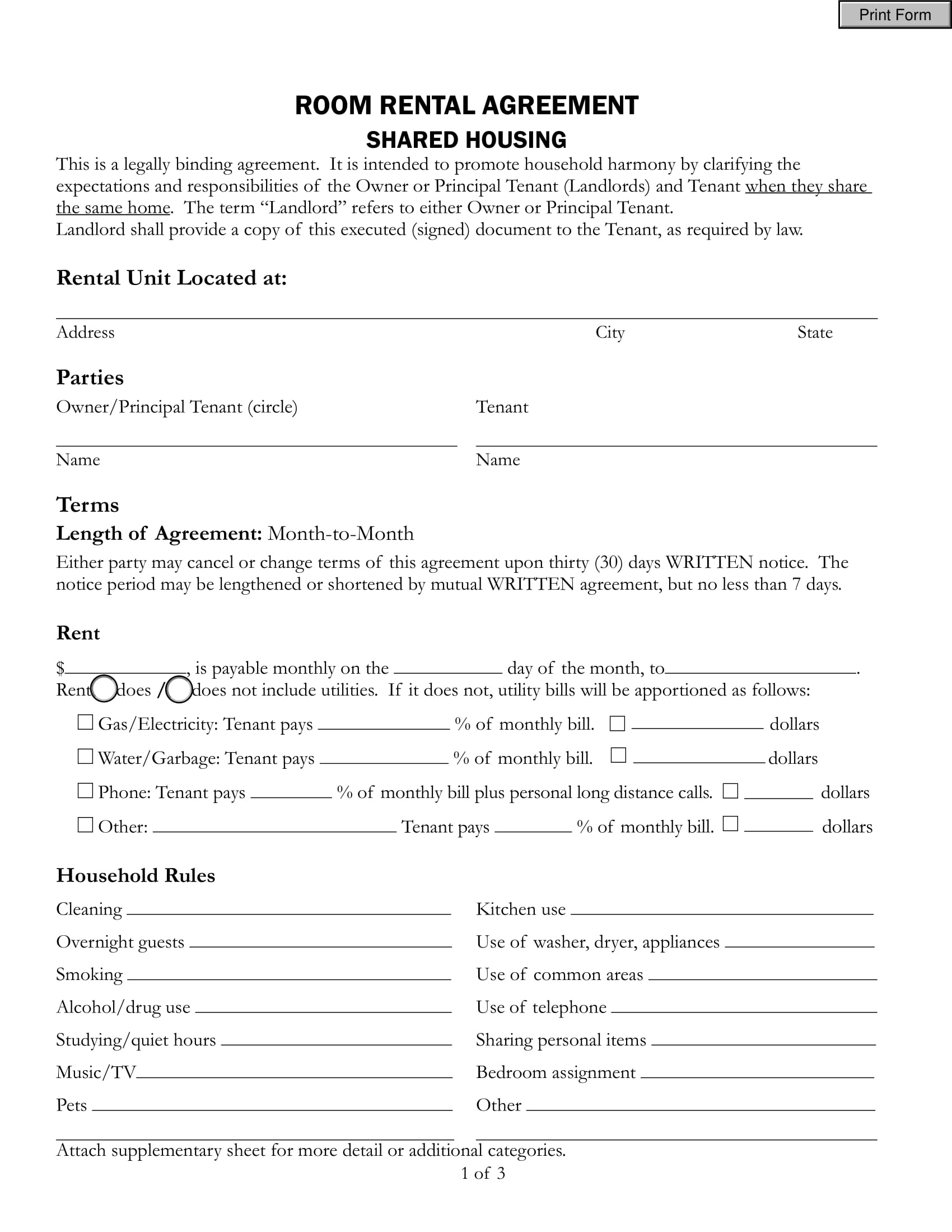 room rental agreement shared housing 9  Room Rental Agreement Examples - PDF