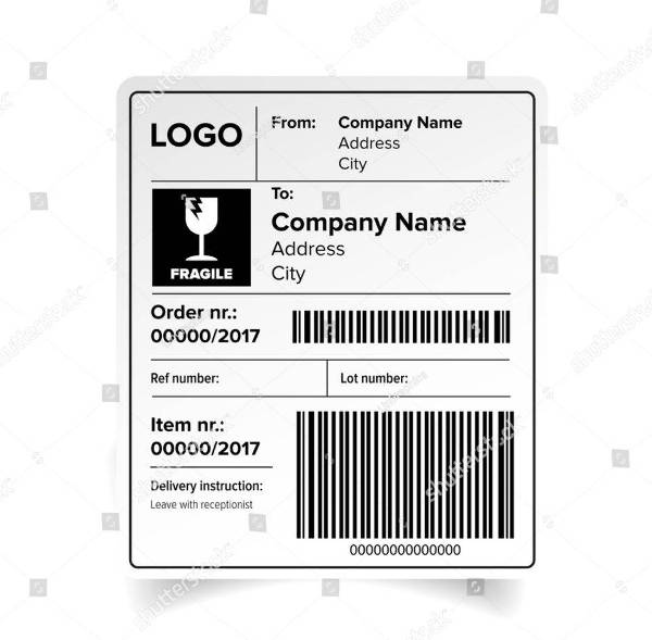 shipping label barcode template vector example