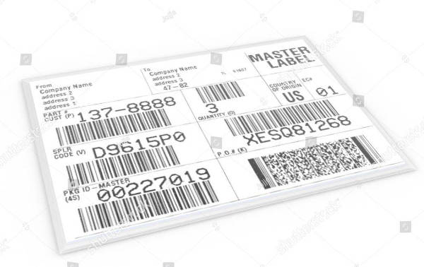 shipping label with sample text and barcodes example
