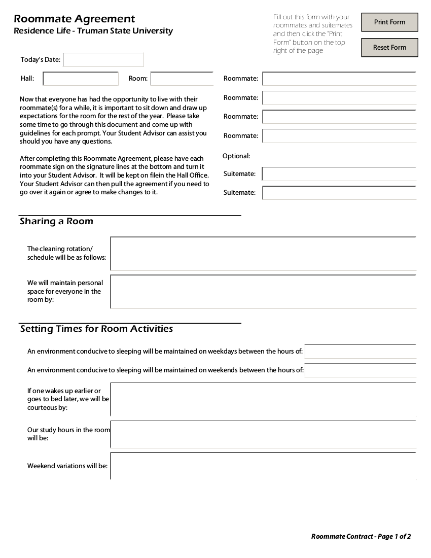 simpe college roommate agreement form example