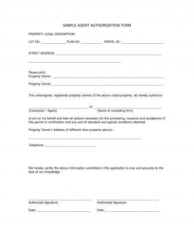 simple agent authorization letter example1