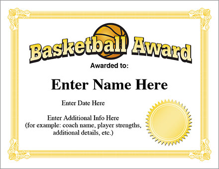 12+ Basketball Awards Certificates - PDF | Examples