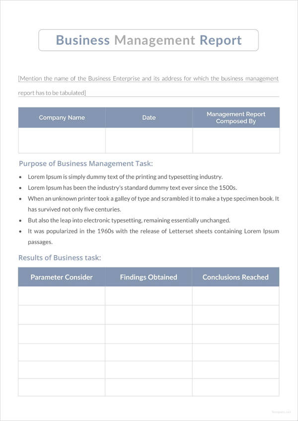 simple business management report example