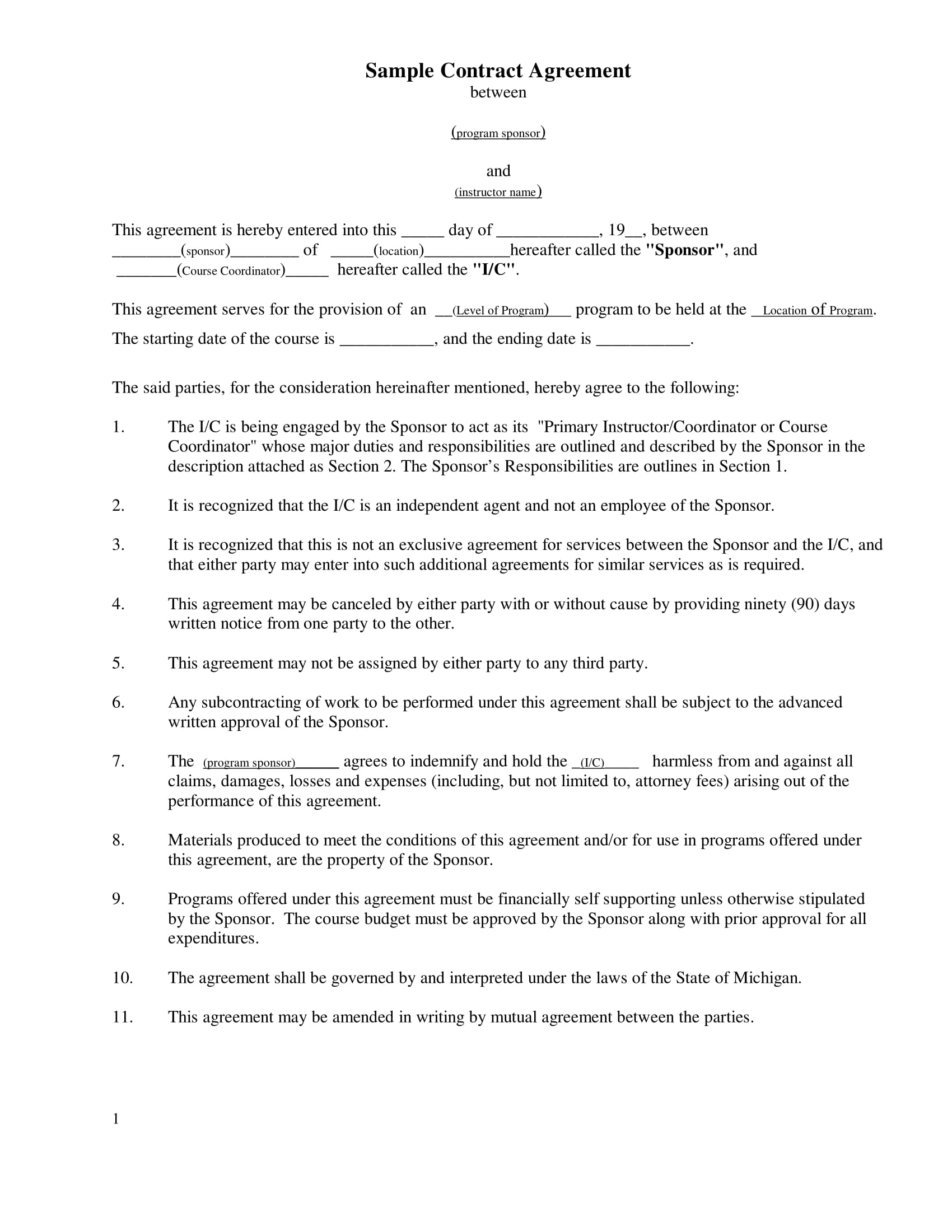 simple contract agreement example