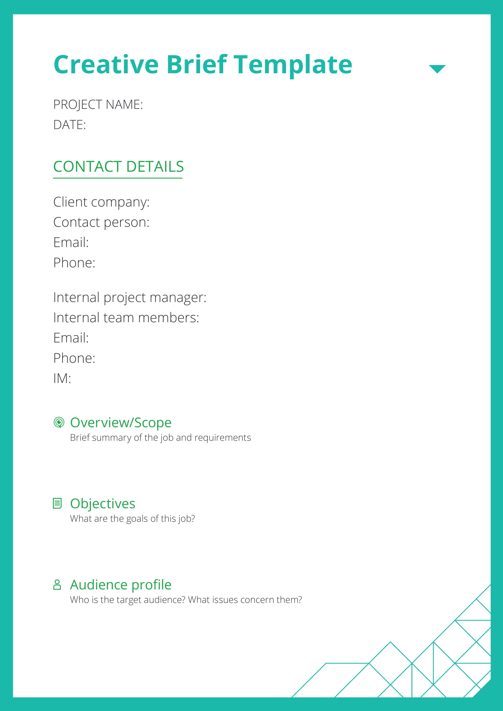 simple creative brief template example