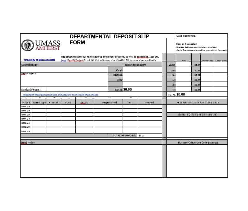 simple deposit slip example