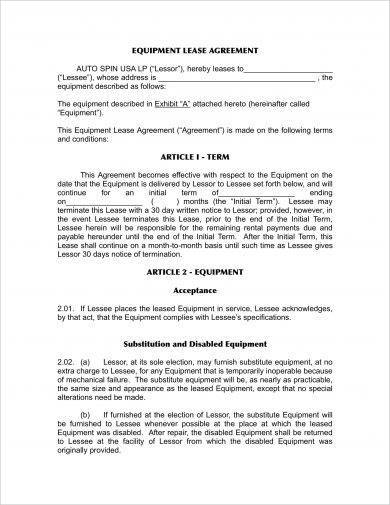 simple equipment lease agreement example1