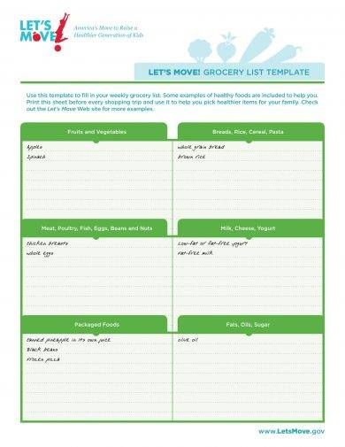 simple grocery list template example