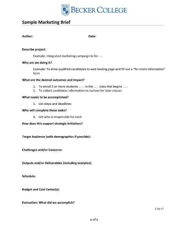 simple marketing brief example