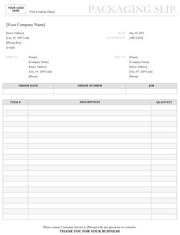 simple packing slip template example1