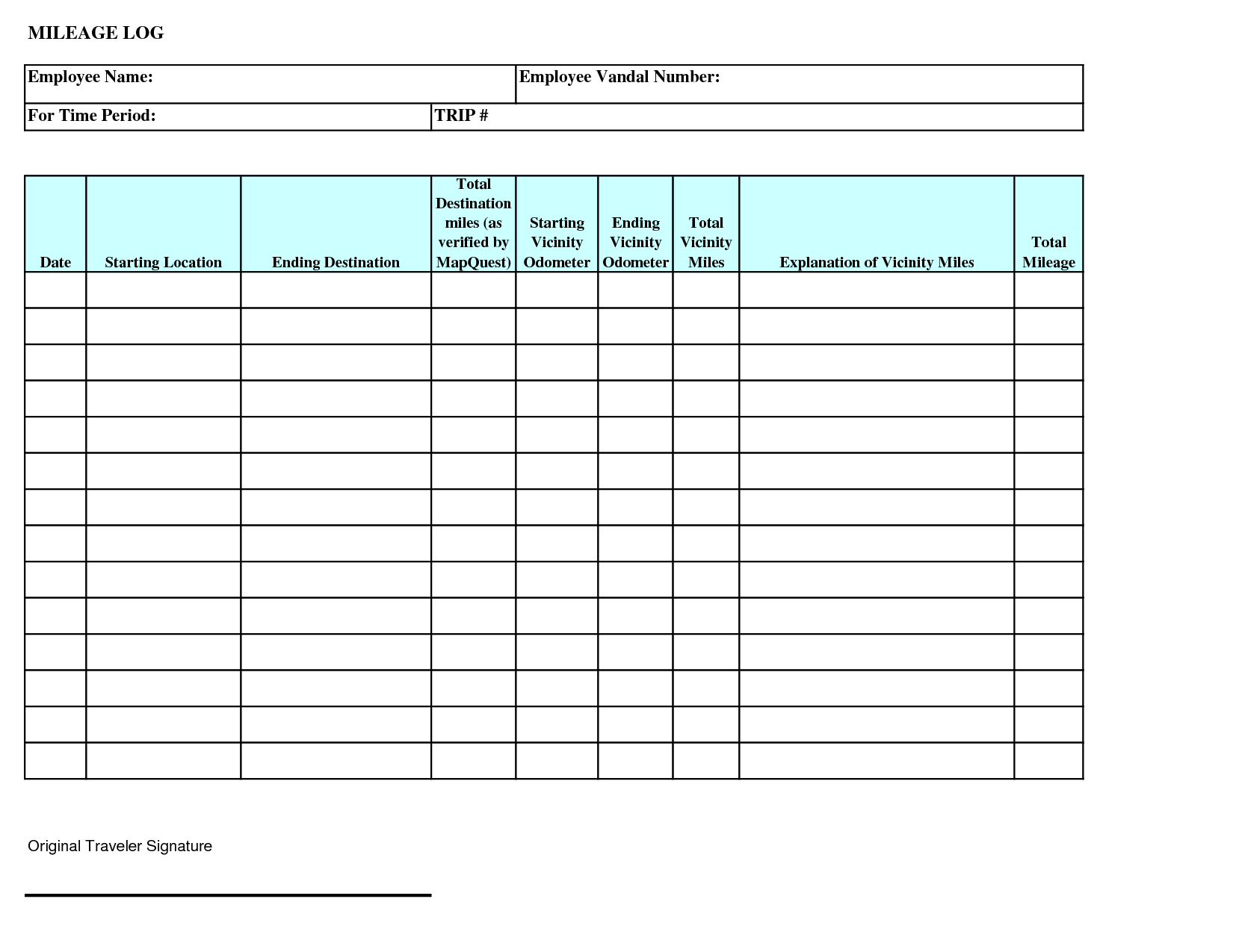 Mileage Log Templates | 16+ Free Printable Word, PDF ...