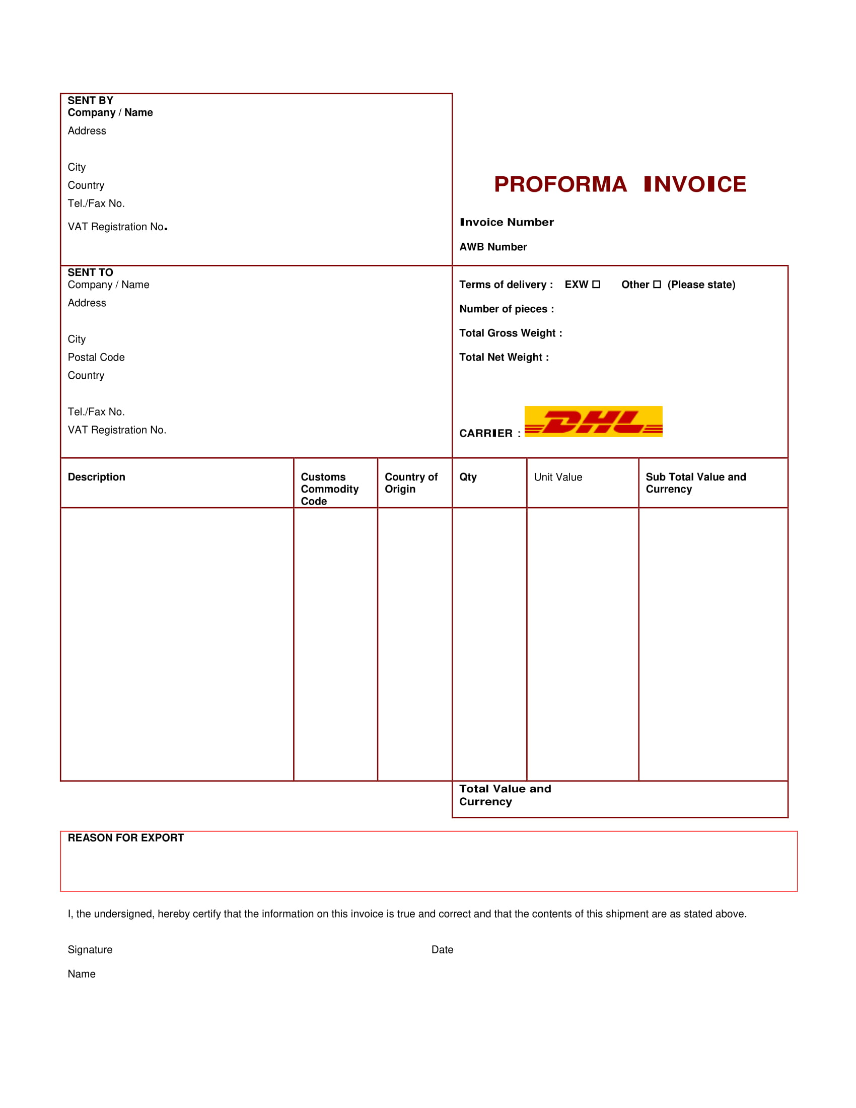 simple pro forma invoice example