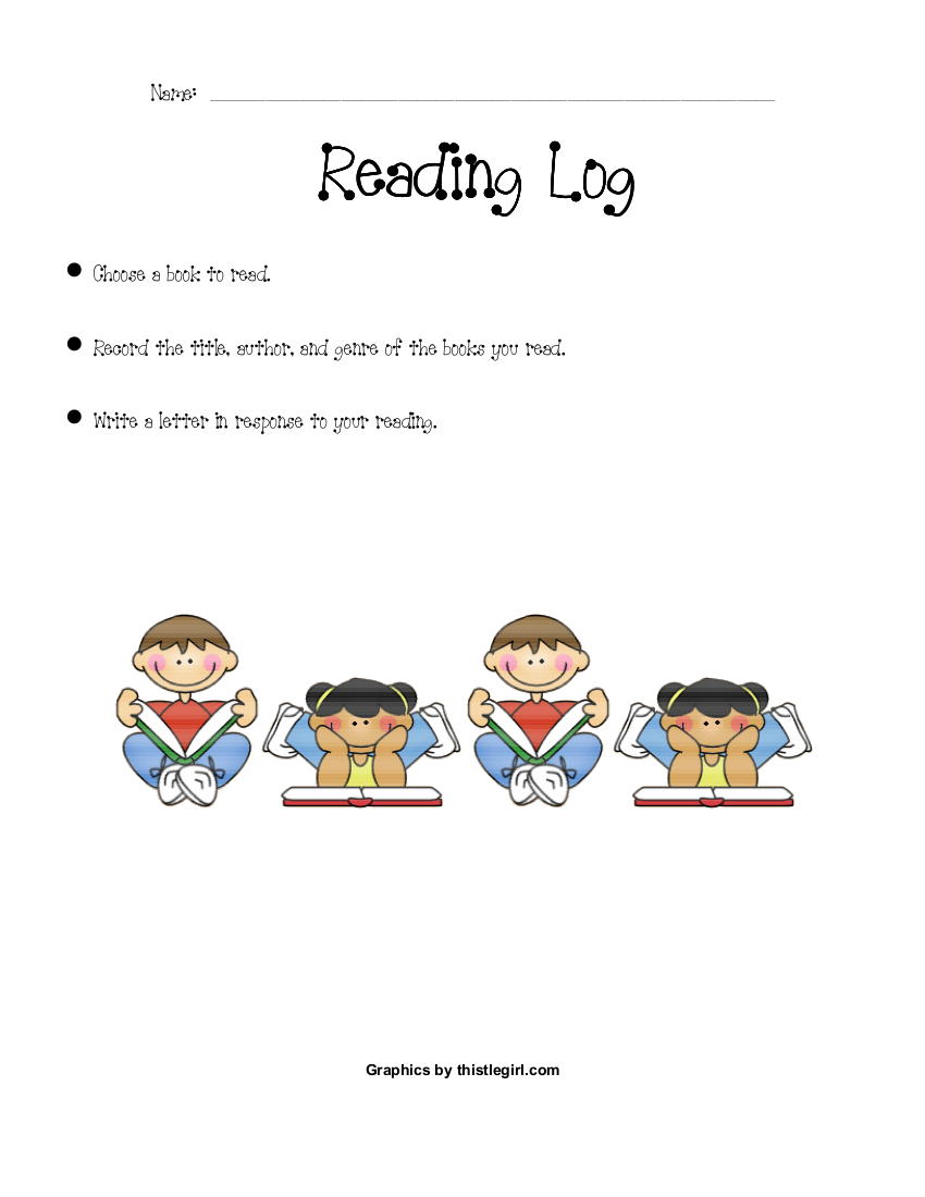 simple reading log example