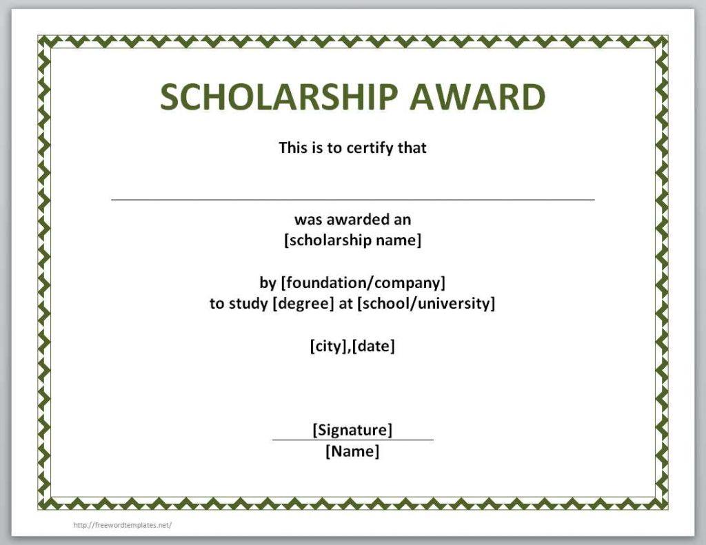 simple scholarship award certificate example