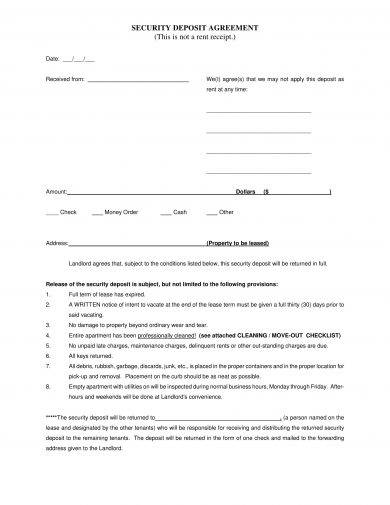 simple security deposit agreement example1
