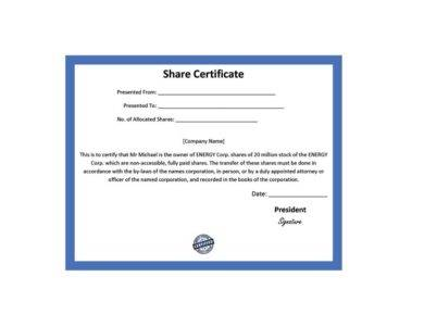 simple share certificate example1