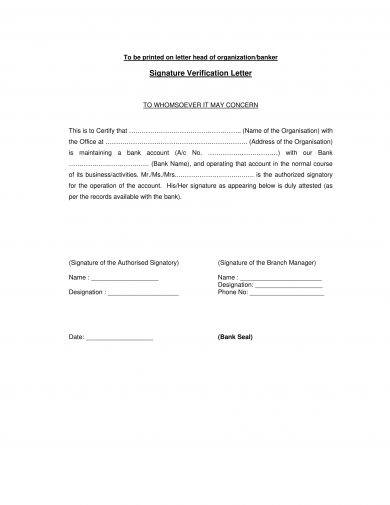 9 Signature Verification Letter Examples Pdf Doc