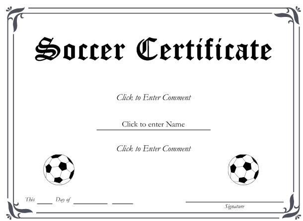 simple soccer award certificate example