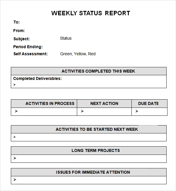 simple weekly status report example