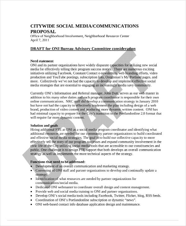 social media communication proposal