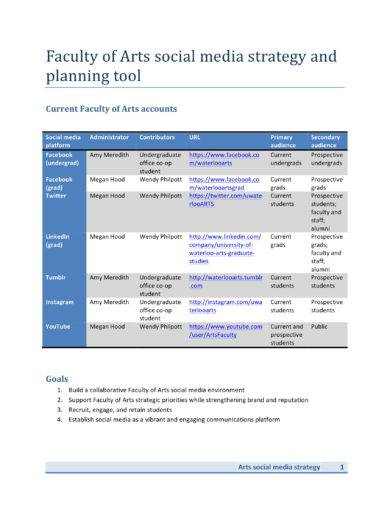 social media strategy and planning tool example